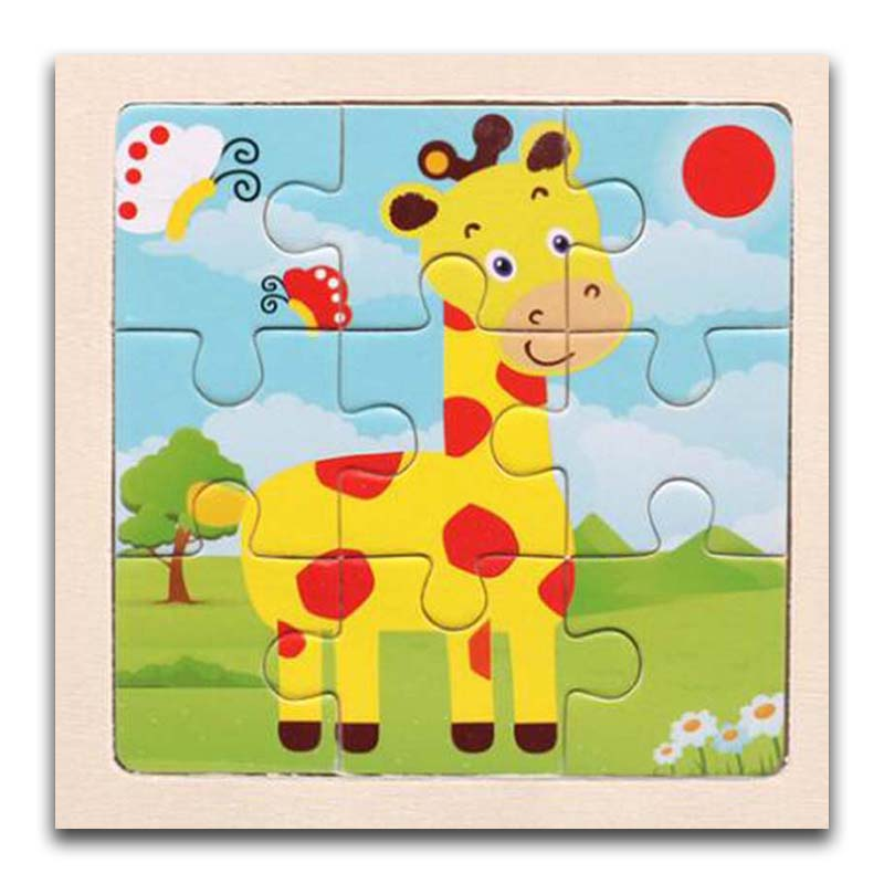 3D Paper Kids Children's Baby Early Childhood Educational Toys Cartoon Giraffe Wooden Small 9-Piece Jigsaw Puzzle 1-3-Year-Old