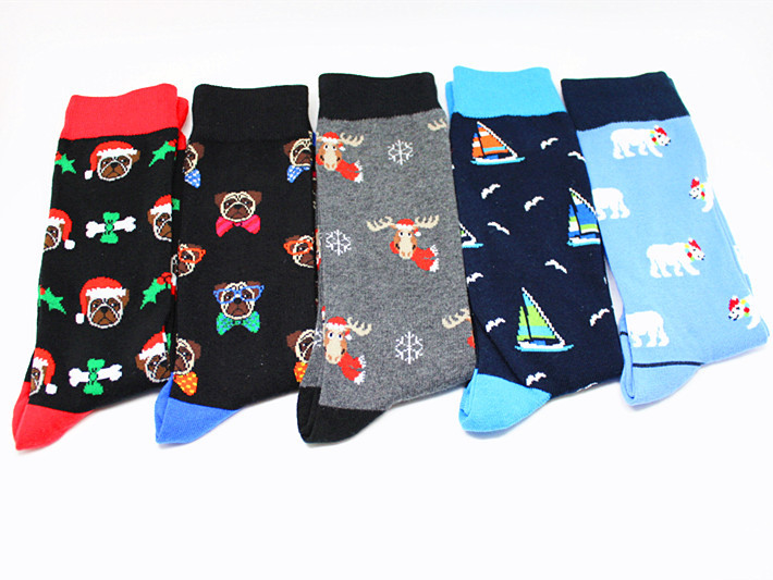 Man Fashion Happy Christmas Socks Funny Cartoon Christmas Polar Bear Fighting Dog Christmas Elk Pattern Man Socks Happy Socks