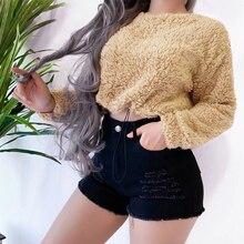 OEAK 2019 New Women Autumn Fleece Sweatshirt O-Neck Short for Eastic Waist Pullovers Casual Solid Sweatshirts Famale
