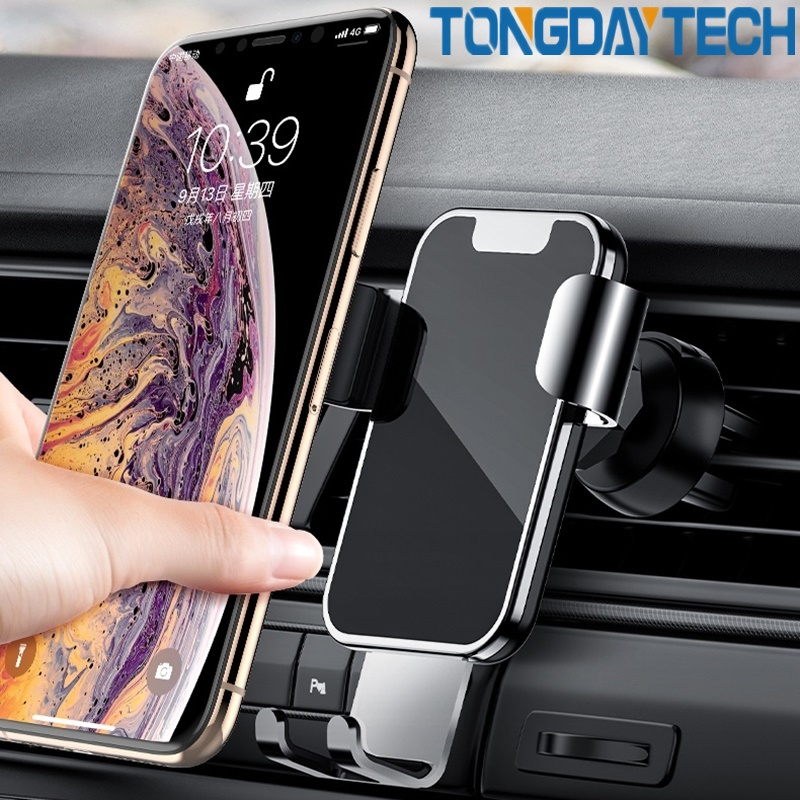 Tongdaytech Car Phone Holder For Iphone X 11 Pro MAX Air Vent Mount Alloy Gravity Mobile Phone Stand Support Smartphone Voiture