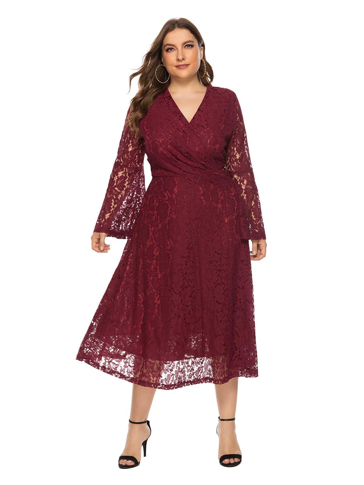 Wisalo женское 2019 элегантное большого размера, расклешенные вечерние платья с длинными рукавами и кружевом, v-образный вырез, высокая талия, до середины икры, вечернее платье Femme