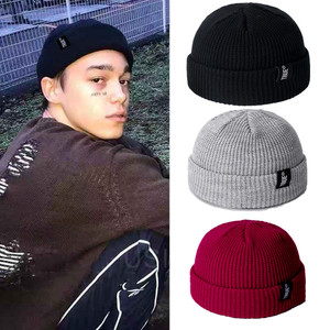IWINTER Men Knitted Hat Beanie Solid Color Cap Retro Ribbed Cuffed Short Melon Hat Skullies Beanies Casual Winter Hat Skullcap(China)