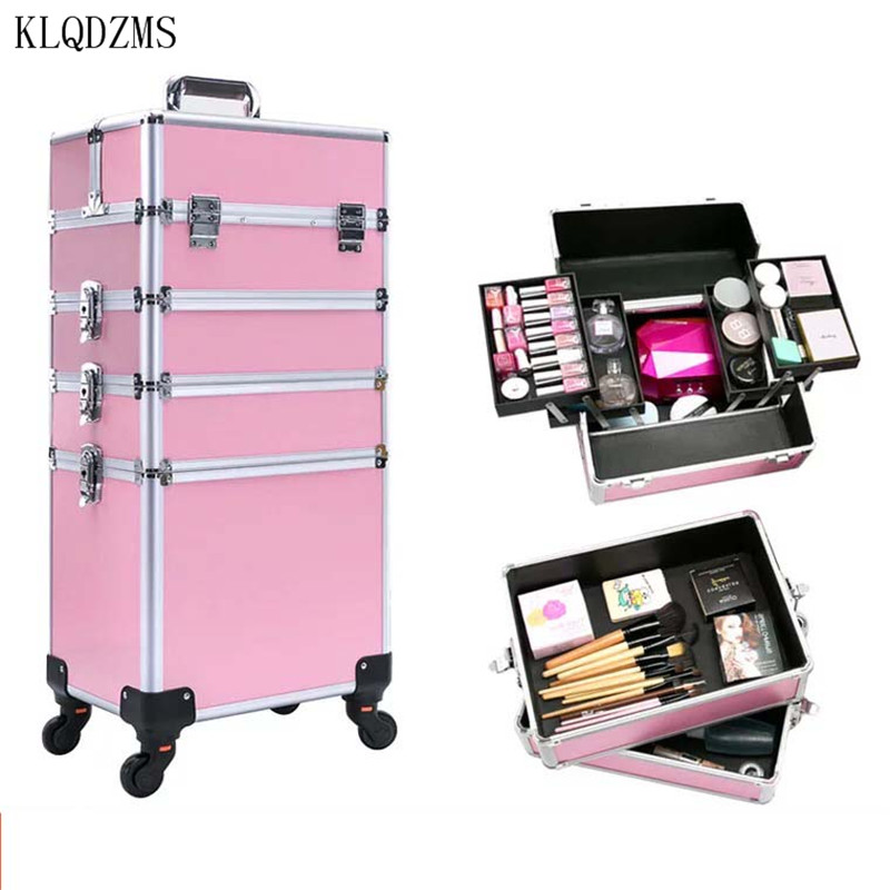 KLQDZMS New Fashion Multifunctional  Professional Makeup Rolling Luggage Case Trolley Cosmetic Case With Wheel