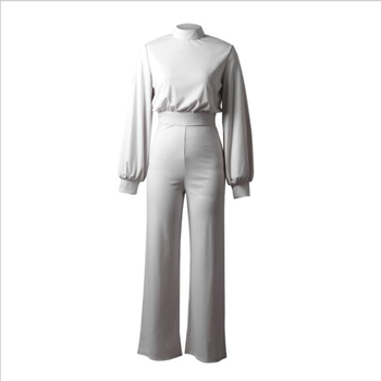 Hot sale 2019 autumn and winter new women jumpsuit Solid knit straight Ful sleeve lhigh collar hollow backless Long Siamese suit 9