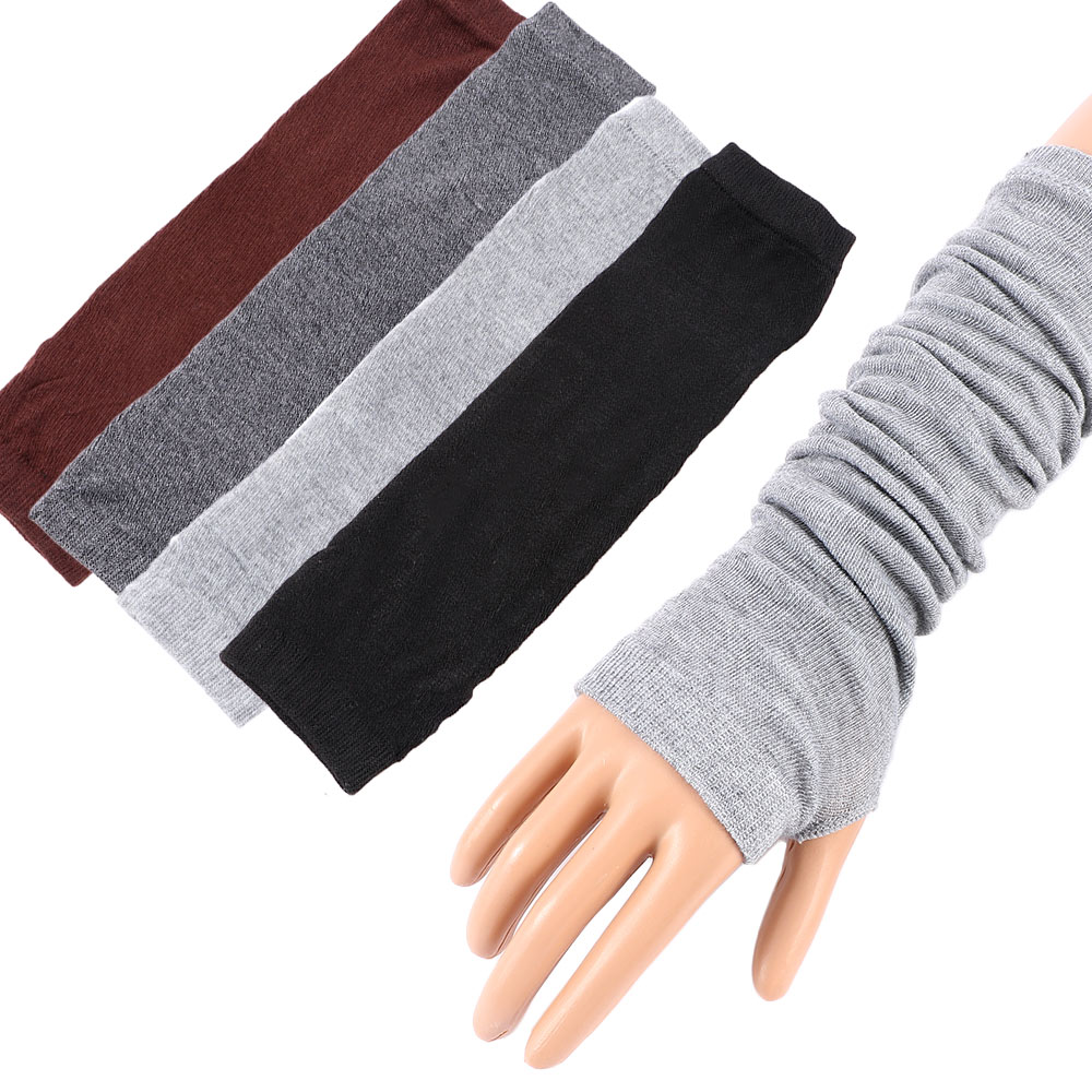 1Pair Knitted Long Fingerless Mittens Arm Autumn Winter Warmer Stretchy Mitten Unisex Crochet Half Finger Long Gloves