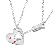 2-piece Necklace Good Friend Series Heart Hollow Arrow Inlaid Red Character Pendant Men And Women Jewelry Gift Direct Sales Hot 2018 hot sales unisex buddha gold jade pendant discount top quality good luck necklace for women men