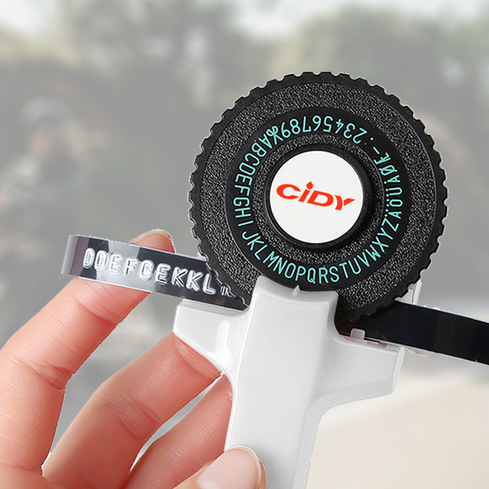 לבן צבע לmotex E101 תווית מדפסת עם 9mm תווית קלטת DIY יצרנית תווית ידנית מכונת כתיבה עבור dymo הבלטות תווית יצרנית