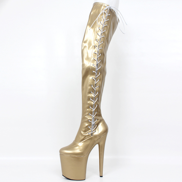 Pole Dancing Thigh Over Knee High Boots Fetish Platform 20cm Heel Women Clubwear