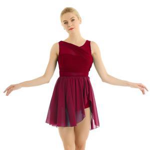 Image 3 - Балетные гимнастические леотарды для взрослых и женщин, платье пачка для танцев, женские балерины, современные лирические танцевальные юбки, одежда из шифона