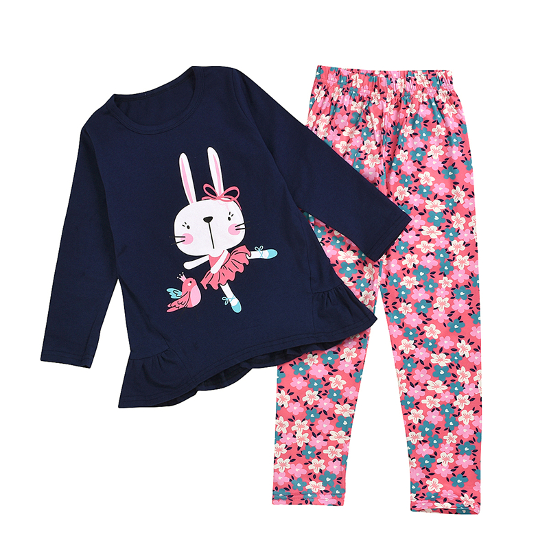 Girl's Clothing Set Print Round Neck Long Sleeve Shirt Top and Pants Two-piece Suit for Vacation Party Photography