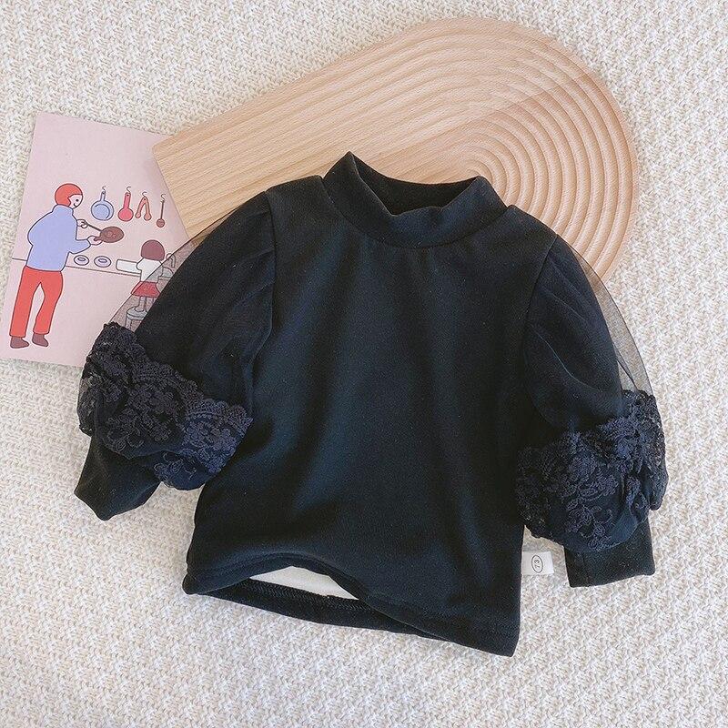 New Baby Girls Clothes Autumn Winter Turtleneck Princess Sweaters Puff Lantern Sleeve Pullovers Kids Tops Warm Children Korean 3