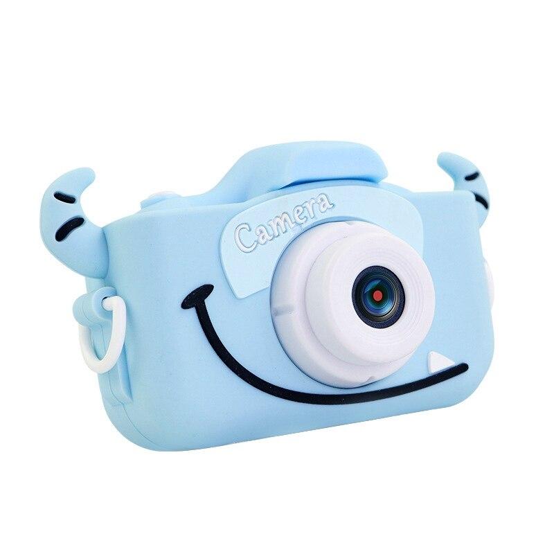 USB Charging Front And Rear Dual 2000W HD Children Camera Mini Cartoon Toy Photo Camera Video Baby Digital Camera-Blue