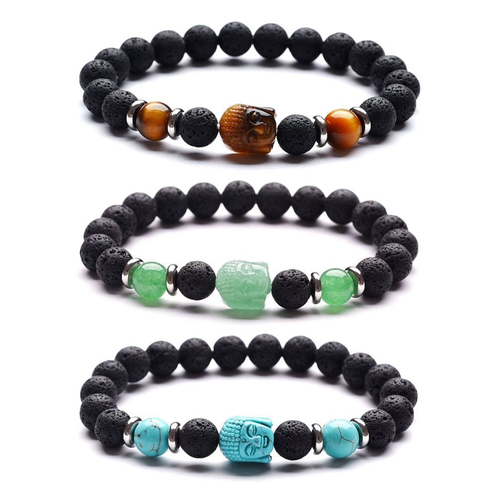 LE SKY 6 Colors Carved Natural Stone Buddha Head Bracelet Stainless Steel Spacer Volcanic Stone Tiger Eye Bracelet for Women Men in Strand Bracelets from Jewelry Accessories