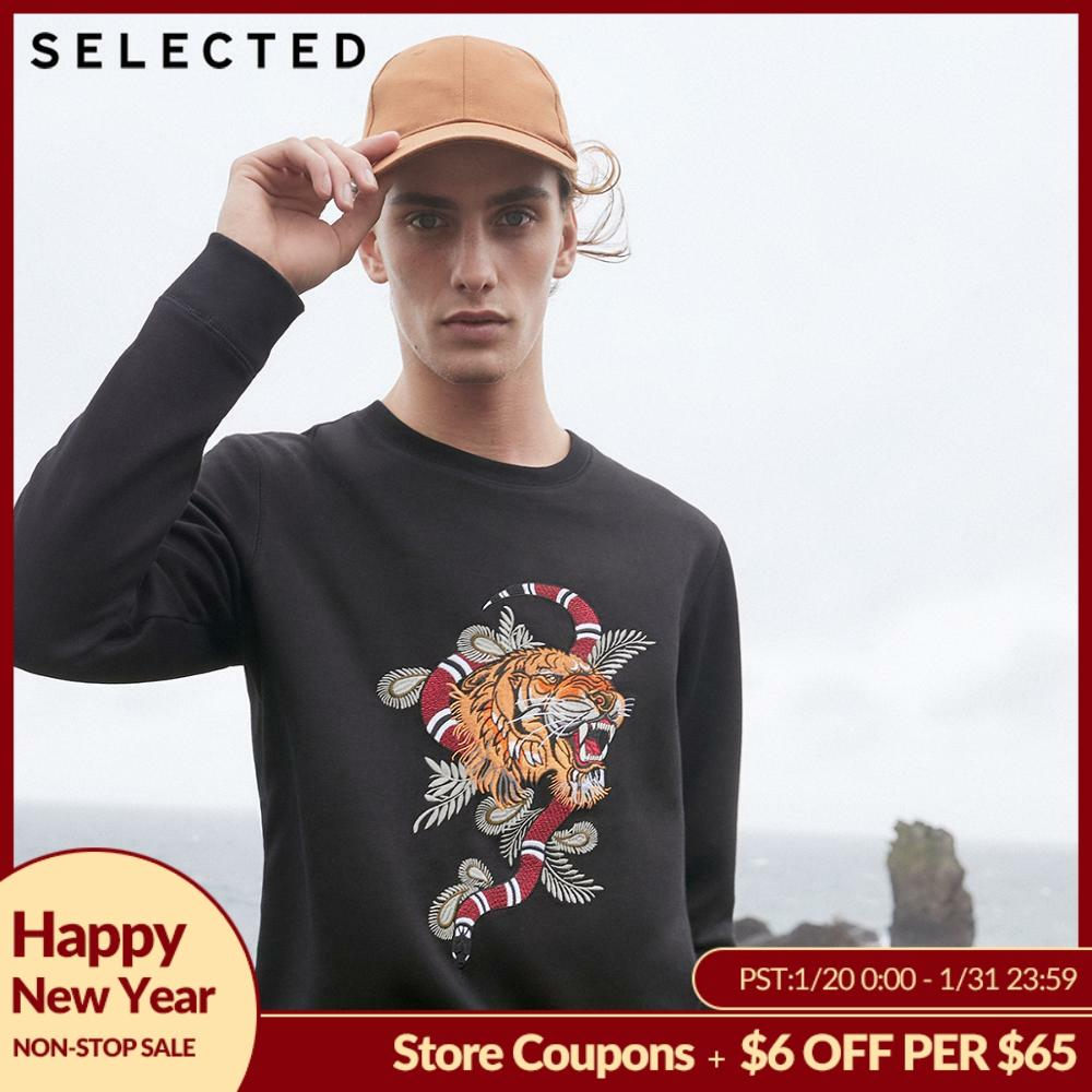SELECTED Men's Cotton Embroidered Sweatshirt Clothes New O-Neck Collar Long-sleeved Pullover Hoodies S | 418333528