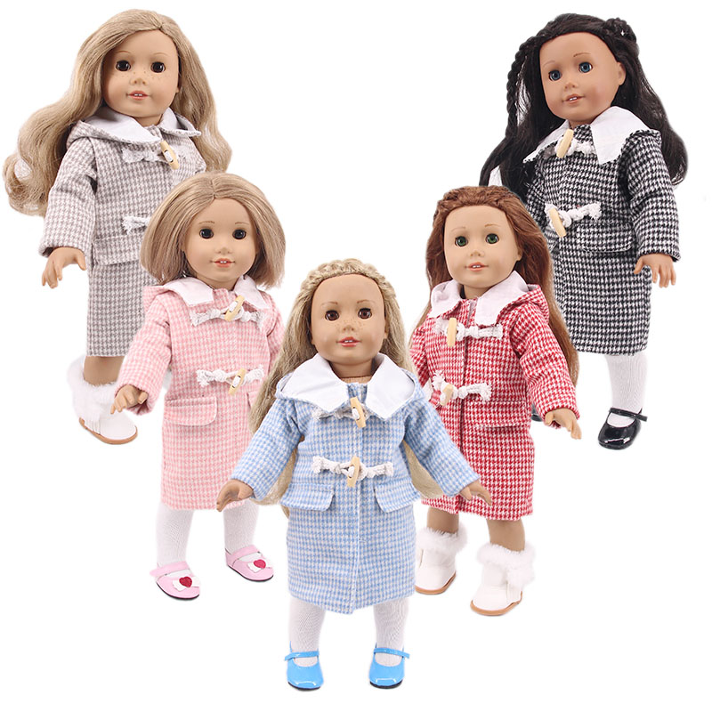 Doll 5 Colors Male Doll Plaid Coat For 18 Inch American Doll & 43 Cm Born Baby Our Generation Christmas Birthday Girl's Gifts