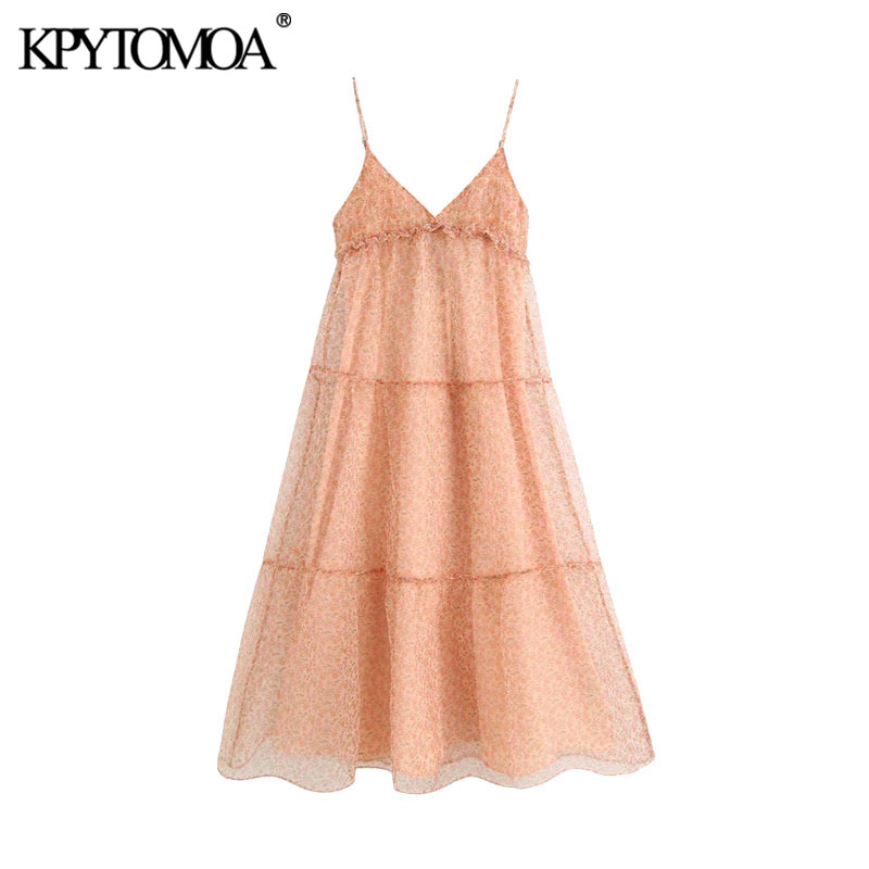 KPYTOMOA Women 2020 Chic Fashion Floral Organza Ruffled Midi Dress Vintage Backless With Lining Thin Straps Female Dresses Mujer