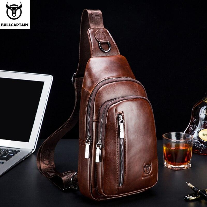 BULLCAPTAIN mode sacs à bandoulière en cuir véritable hommes marque petit sac à bandoulière décontracté musique poitrine sacs messenger sac