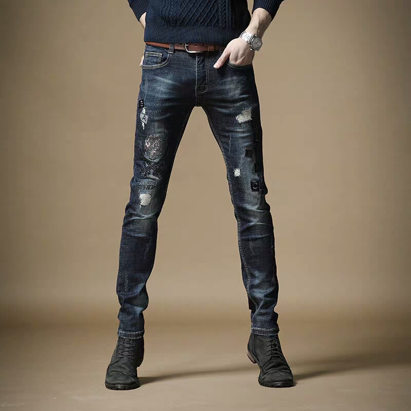 Free Shipping New 2020 Men's Male Spring Hot Rhinestone Embroidery Korean Hole Fashion Slim Slim Blue Trendy Jeans Trousers