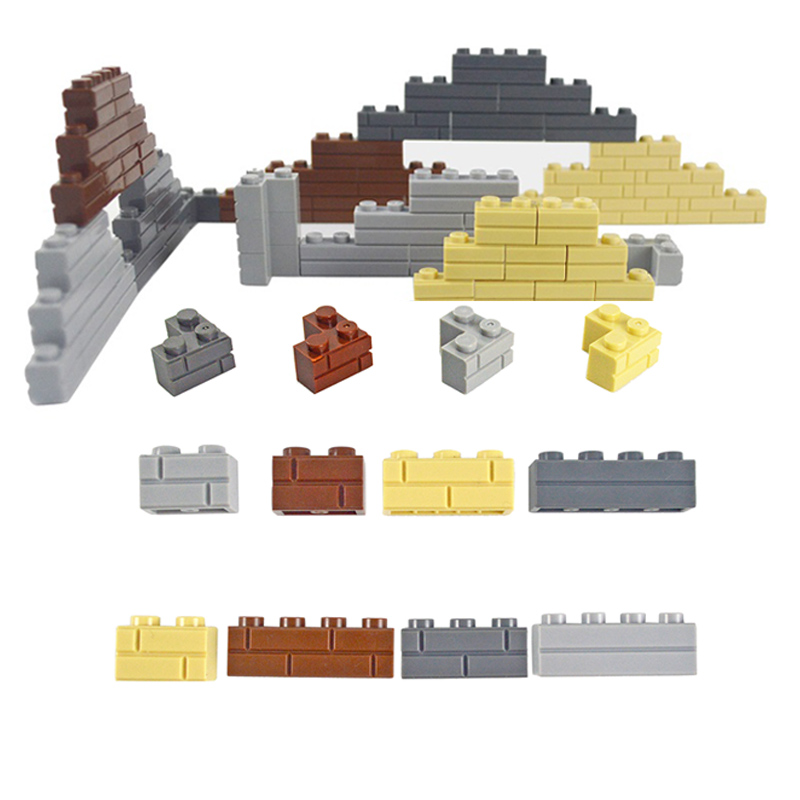 Wall Bricks Thick 1x2 1x3 1x4 Dots DIY Building Block MOC City Accessories Door Window Educational Brick Compatible All Brands
