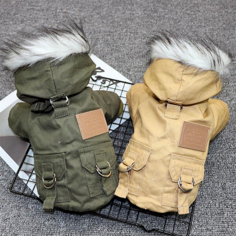 Зимний теплый пуховик для домашних животных, кошек и собак, куртка средней и маленькой собаки, одежда с капюшоном для чихуахуа, легкая Толстовка-0