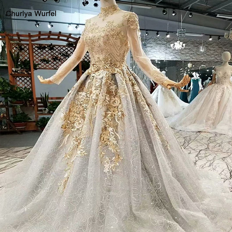 LS855111 shiny golden lace long evening party dresses long tulle sleeves high neck elegant mother of the bride dress real price