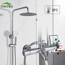 Chrome Thermostatic Shower Set Bathroom Mixer Shower Systems Wall Mount 38 Degree Control
