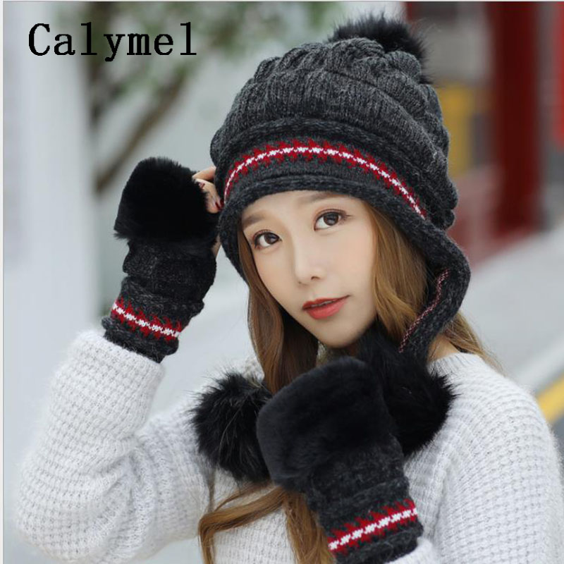 Calymel 2019 New Wool Knit Hat Plus Velvet Thick Winter Hat Gloves Set Women's Outdoor Windproof Warm Hat And Gloves
