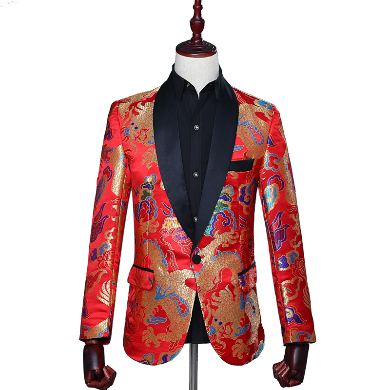 Fashion Design Of Colorful Dragon Pattern Red Casual Men's Suit Coat Retro Chinese Style Wedding, Stage, Party Slim Suit Coat