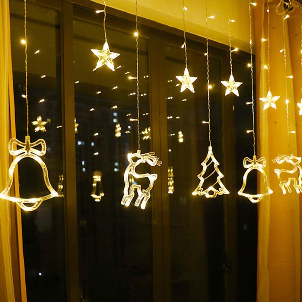 HobbyLane Xmas LED Curtain Lamp Christmas Room Decoration Festival Lights Waterfall Hanging Lamp Star Christmas Tree Europlug