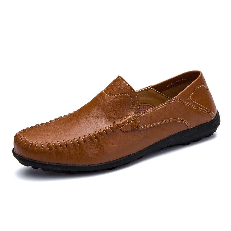 Classic Men Shoes Leather Breathable Wear-resistant Mens Casual Shoes Summer Shoes Men Non-slip Soft Shoes Flat Big Size 37-47