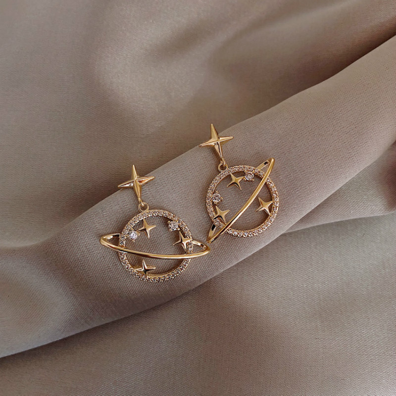 Trendy Crystal Star Women Dangle Earrings Sweet Simple Universal Earrings Bohemian Fashion Earrings For Women Statement
