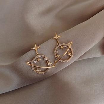 Trendy Crystal Star Women Dangle Earrings  Sweet Simple Universal Earrings Bohemian  Fashion Earrings For Women Statement fashion sweet shell round dangle earrings