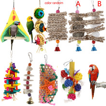Toys Parrot Ropes Cage-Balls Pet-Supplies Wooden Birds Hanging Natural Garden-Ornament