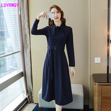 2019 autumn new Korean fashion womens bow tie belt slim slimming long sleeve retro a word dress Solid  knitting Cotton
