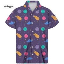 цена на Summer Man Shirt The Outer Space Printed Turn-drown Collar Streetwear Short Sleeve Thin Loose Cuban Shirt For Men Big And Tall