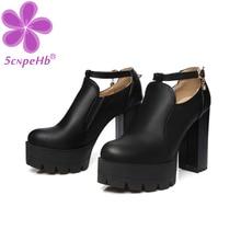 Female Shoes Platform Pumps Thick-Heels Big-Sizes T-Strap-Buckle Rhinestone Autumn New