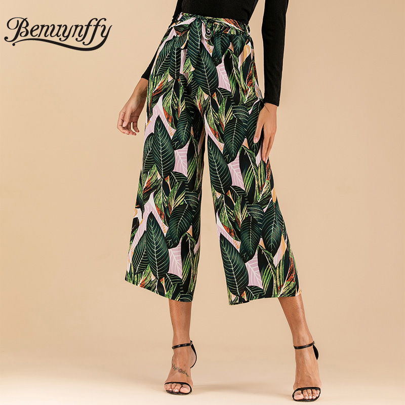 Benuynffy Tropical Print Belted Wide Leg Pants Summer Holiday Elastic High Waist Trousers For Women Casual Loose Pants Capris