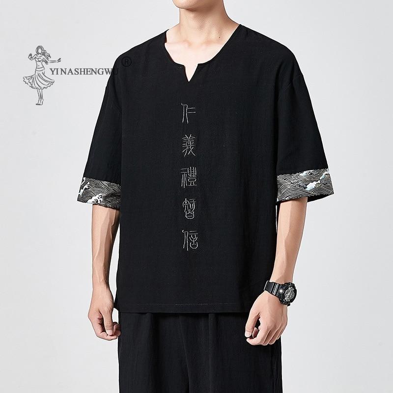 Японские кимоно с коротким рукавом, футболка с вышивкой в стиле харадзюку, юката, японские летние мужские льняные рубашки, брюки, новый азиа...