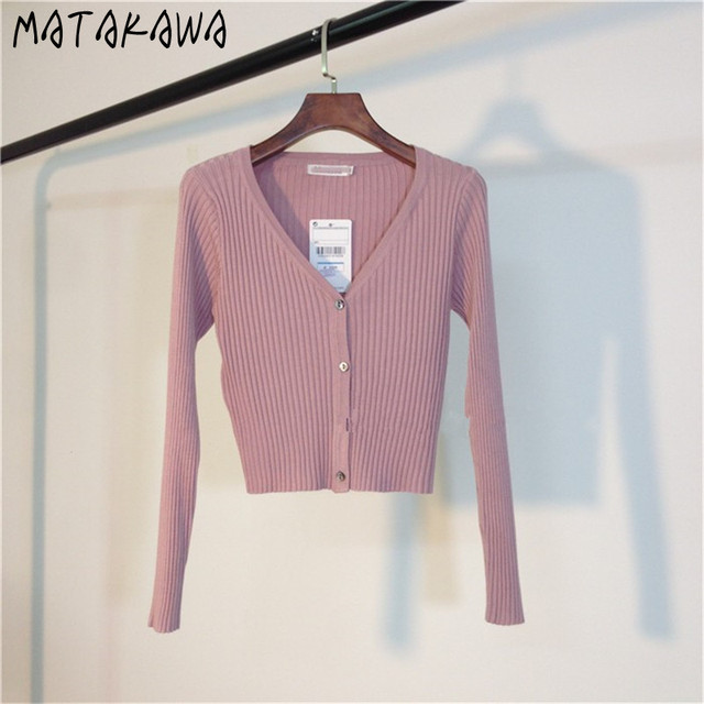 MATAKAWA Sexy Long Sleeve Buttons Women's Sweater Patchwork  2020 Fashion Ribbed  Slim Sweaters Ladies Knitted Cardigan 4