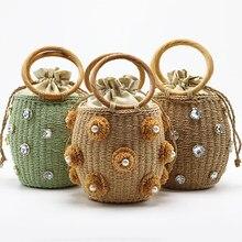 Sacs à main et sacs de voyage pour dames, avec strass en cristal, fait à la main, petit, style seau en paille, nouvelle collection 2020