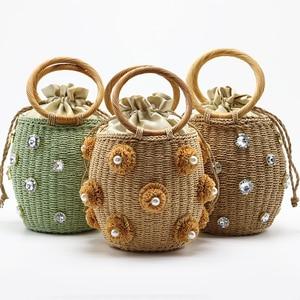 2020 New Handmade Rhinestone Crystal Embellished Straw Bag Small Straw Bucket Bags Lady Travel Purses and Handbags