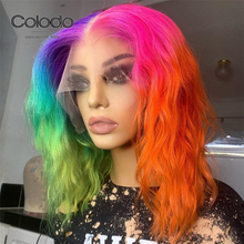 COLODO Pre Plucked Rainbow Green Purple Ombre Human Hair Lac