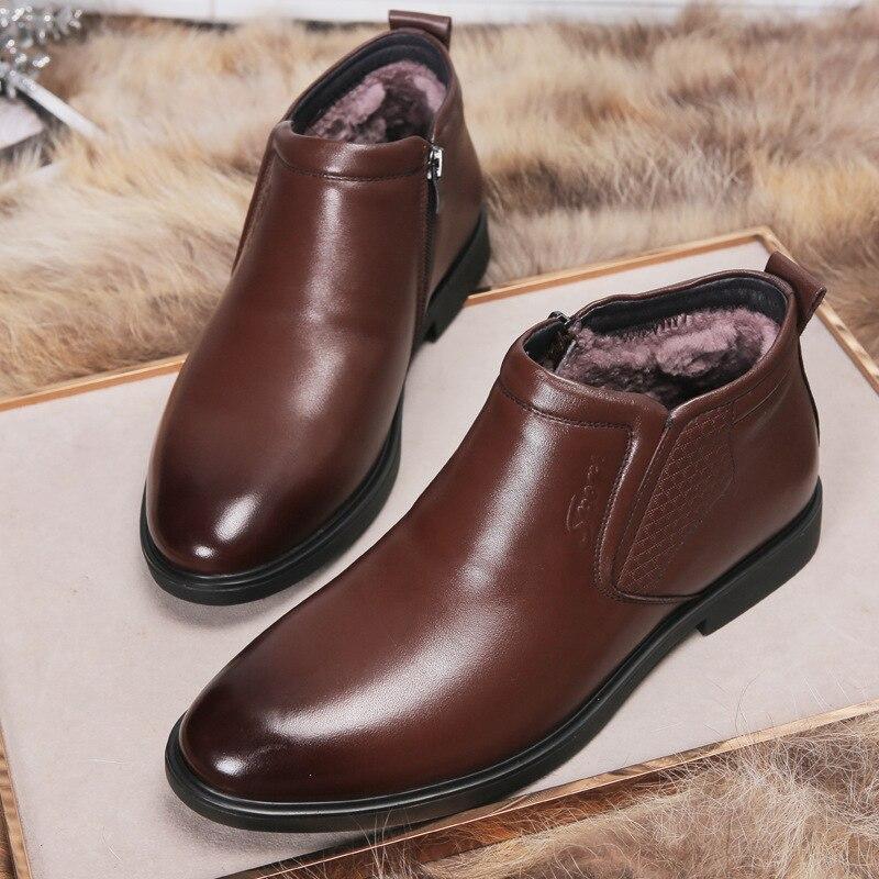 Genuine Leather men winter boots Ankle Boots Fashion Footwear  boot shoes men Casual High Top Men Shoes zapatos de hombreChelsea Boots   -