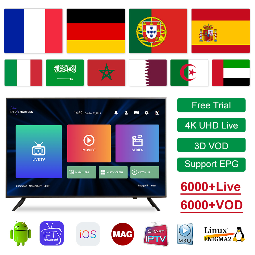 IPTV France Belgium Germany Italy IPTV Subscription For Android Smart Tv M3u Spanish Portugal Sweden Arabic French IP TV