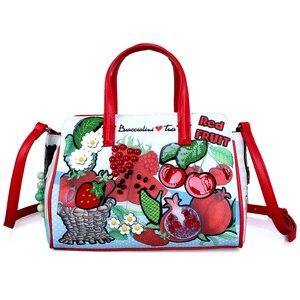 Женские сумки, кожаная Лоскутная сумка с вышивкой, сумки на плечо для девушек, сумка через плечо, Tote Braccialini, стильные Мультяшные вкусные фрук...