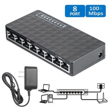 8Port Switch Ethernet Smart Switcher High Performance 10/100Mbps Ethernet Network Switch RJ45 Hub Internet Splitter EU Plug 1