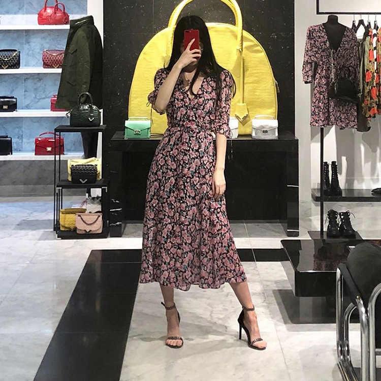 Vestido feminino 2019 primavera e verão puff manga impressão v-neck vestido de renda para férias vestido de praia (sem qualquer etiqueta)