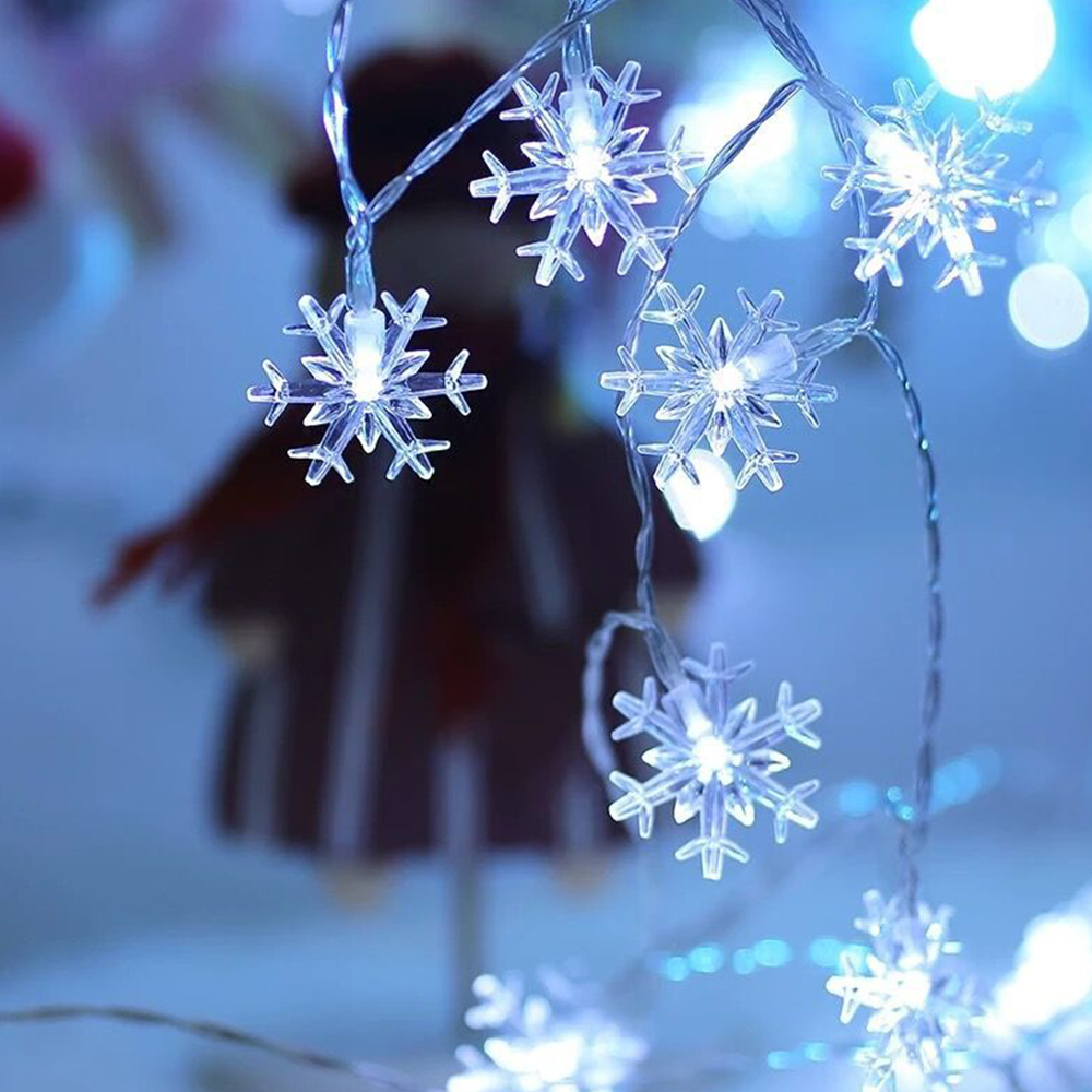 10M 220V/Battery LED Snowflake String Light Christmas Garland Fairy Curtain Lamp Indoor/Outdoor For Holiday Wedding Party Decor