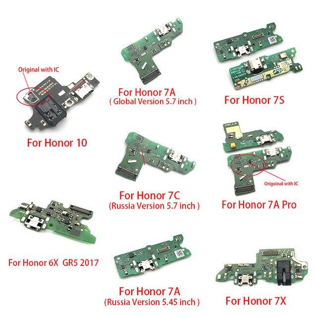 Port ładowania USB złącze dokujące płyta Flex Cable z mikrofonem Mic dla Huawei Honor 10 7X 7S 6X GR5 2017 7A Pro globalna rosja