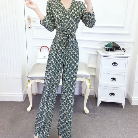 New arrival Women Clubwear V-neck Print  Jumpsuits Party Office Lady Playsuits Romper Trousers Islamabad